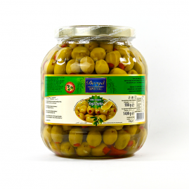 Derya Green Olives stuffed with Pepper in Glass 261-320 1400cc